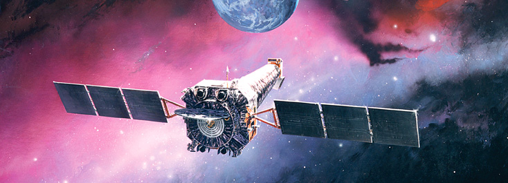 Artist impression of the Chandra X-ray observatory in orbit. Credit northropgrumman.com