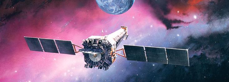 Artist impression of the Chandra X-ray observatory in orbit. Credit northropgrumman.com