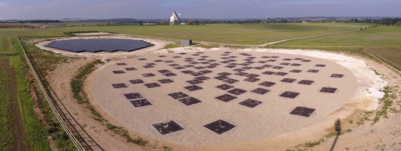 A birds eye view of the UK international LOFAR station at Chilbolton. The LBA can be seen in the foreground and the (covered) HBA in the background.