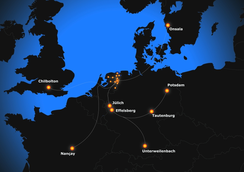 A map of Northern Europe highlighting the current locations of LOFAR stations as of July 2014.