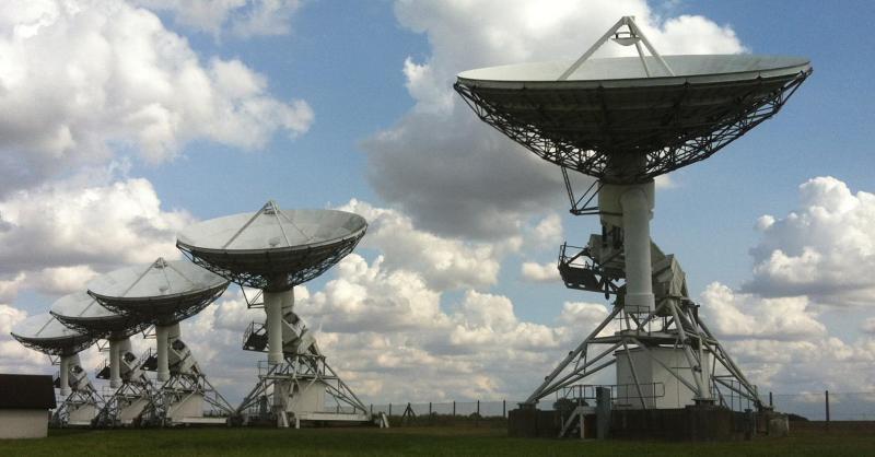 A view of five AMI-LA radio dishes.